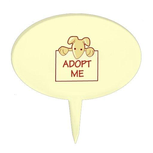 dog511 ADOPT ME RESCUE DOGS ANIMALS CAUSES CARTOON Cake Topper