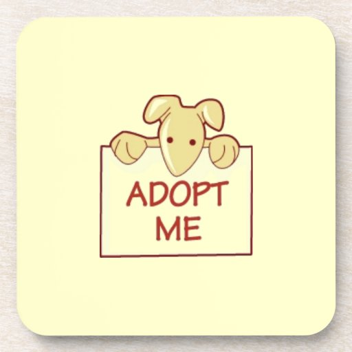 dog511 ADOPT ME RESCUE DOGS ANIMALS CAUSES CARTOON Beverage Coasters