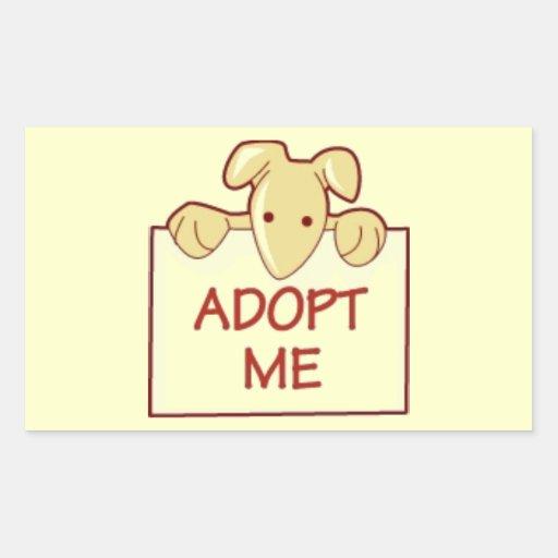dog511 ADOPT ME RESCUE DOGS ANIMALS CAUSES CARTOON Rectangular Stickers