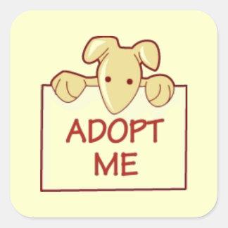 dog511 ADOPT ME RESCUE DOGS ANIMALS CAUSES CARTOON Square Sticker