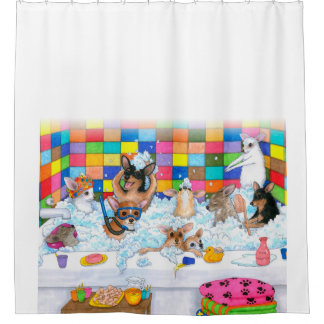 Dog 121 funny chihuahua in bath shower curtain