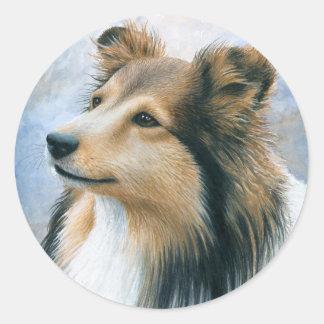 Dog 122 Sheltie Collie Classic Round Sticker
