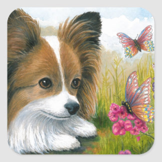 Dog 123 Papillon dog with Butterflies Square Sticker
