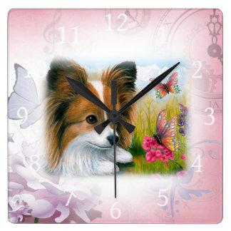 Dog 123 Papillon Square Wall Clock