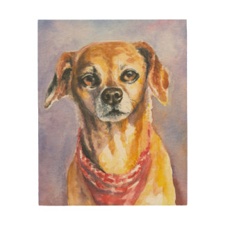 Dog 2 wood canvas