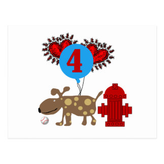 Dog 4th Birthday Tshirts and Gifts Postcard