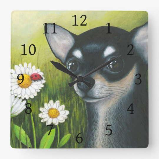 Dog 79 black Chihuahua Ladybug Square Wall Clock