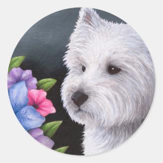 Dog 82 Westie Classic Round Sticker