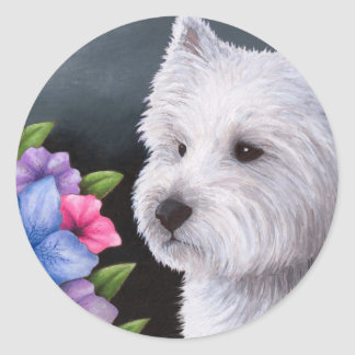 Dog 82 Westie Round Sticker