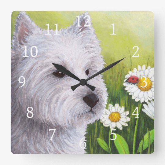 Dog 83 White Westie Square Wall Clock