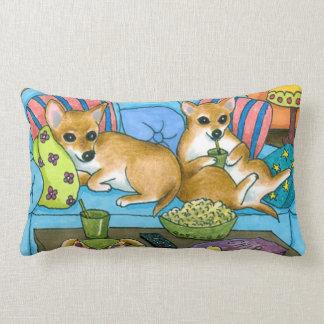 Dog 99 funny Chihuahua watching TV Lumbar Cushion