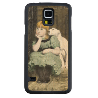 Dog Adoring Girl Victorian Painting Carved Maple Galaxy S5 Case