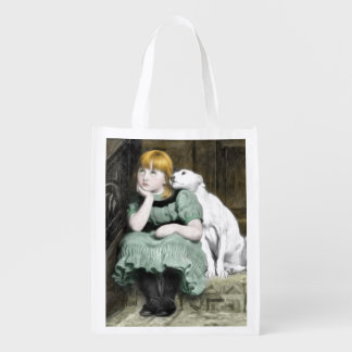 Dog Adoring Girl Victorian Painting Reusable Grocery Bag