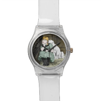 Dog Adoring Girl Victorian Painting Watch