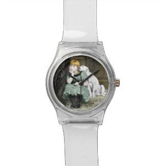 Dog Adoring Girl Victorian Painting Wrist Watch