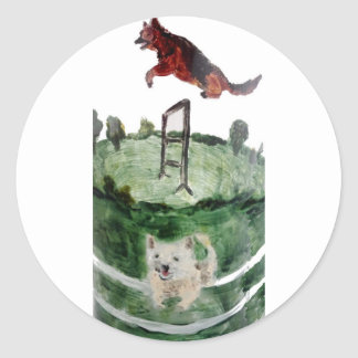 Dog Agility Painting Round Sticker