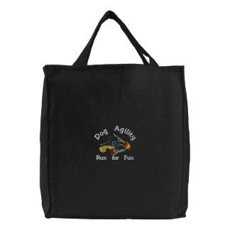 Dog Agility Run for Fun Dark Embroidered Bag