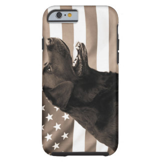 Dog and American flag Tough iPhone 6 Case