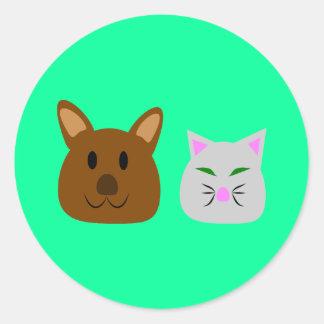 Dog and Cat Best Friend Round Sticker
