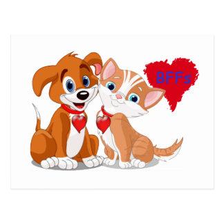 Dog and Cat BFFs Valentines Postcard