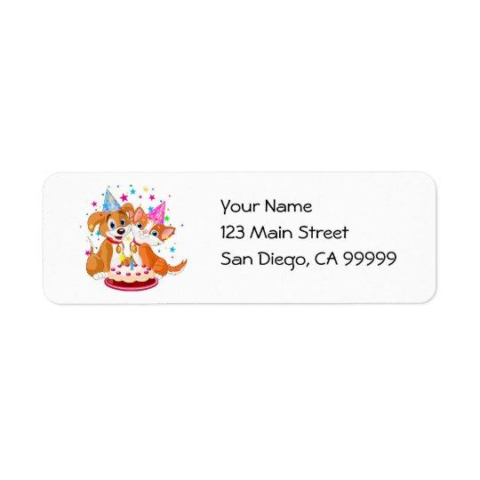 Dog and Cat Birthday Celebration Return Address Label
