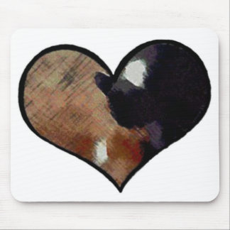 Dog and Cat Embrace in a Heart Shaped Yin Yang Mouse Pad
