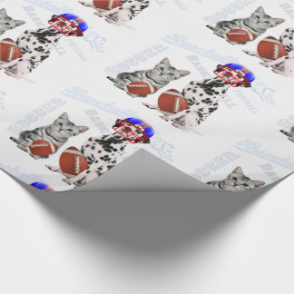Dog and Cat Football Player Sports Theme Wrapping Paper