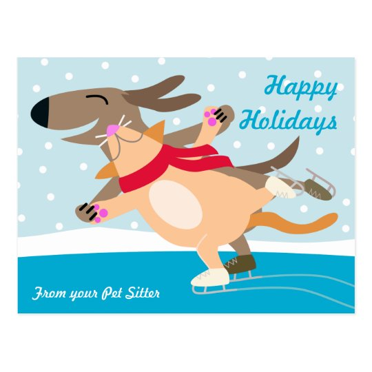 Dog and Cat Ice Skating-Happy Holidays Postcard