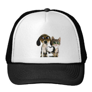 Dog and Cat in Love Mesh Hats