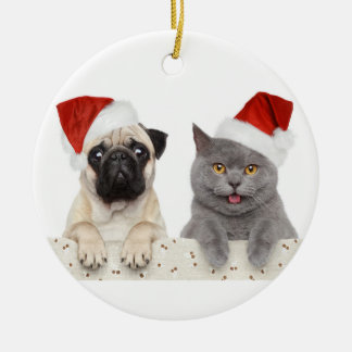 Dog And Cat In Red Christmas Hat Christmas Ornament