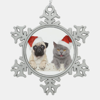 Dog And Cat In Red Christmas Hat Pewter Snowflake Decoration