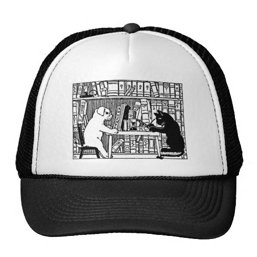 Dog and Cat in the Library Mesh Hats
