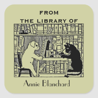 Dog and Cat in the Library Square Sticker