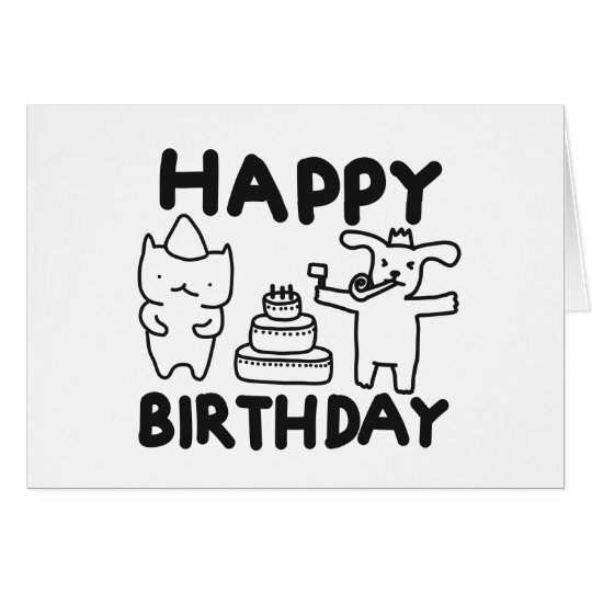 Dog and Cat Party Birthdays Card