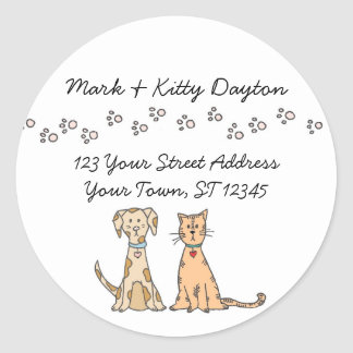 Dog and Cat Paws Address Labels Round Sticker