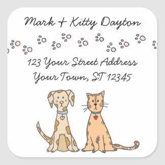 Dog and Cat Paws Address Labels Square Sticker