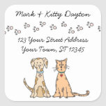 Dog and Cat Paws Address Labels Square Stickers