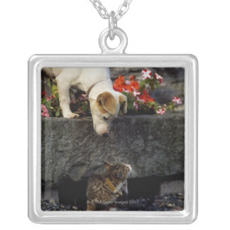 Dog and cat silver plated necklace