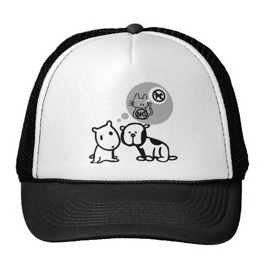 DOG AND CAT THOUGHT PROCESSES TRUCKER HAT