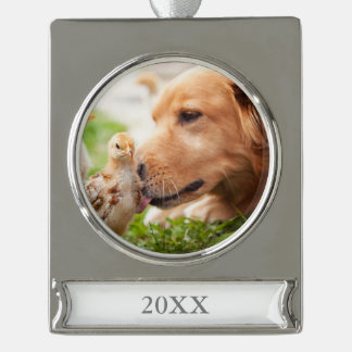 Dog and Chick Silver Plated Banner Ornament