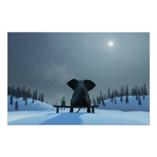 Dog and Elephant Friends Poster