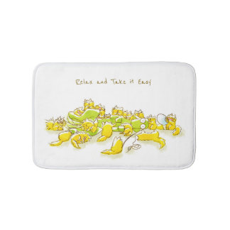 Dog and Full of Cats Funny illustration Bath Mats
