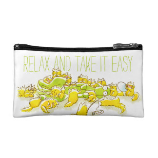 Dog and Full of Cats Funny illustration Cosmetics Bags