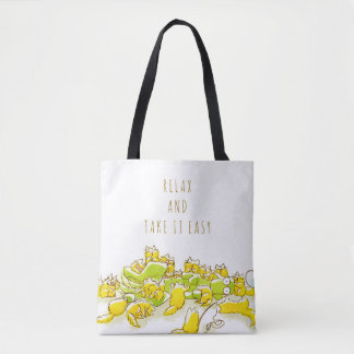 Dog and Full of Cats Funny illustration Tote Bag