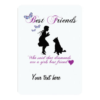 Dog and girl best friends 13 cm x 18 cm invitation card