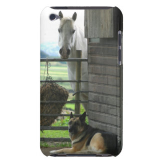 Dog and horse at ranch in Menton, France iPod Case-Mate Case