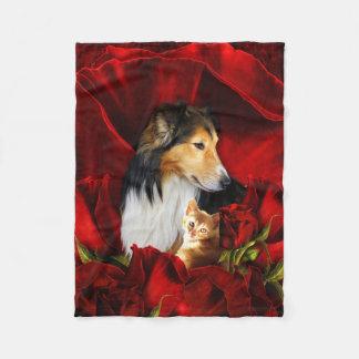 Dog and Kitten embedded in Red Roses Fleece Blanket