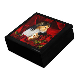 Dog and Kitten embedded in Red Roses Gift Box