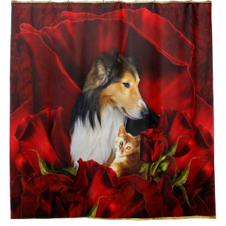 Dog and Kitten embedded in Red Roses Shower Curtain