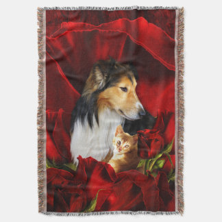 Dog and Kitten embedded in Red Roses Throw Blanket